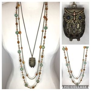 Jewelry - Double Strand Beaded and Owl Necklace Lot
